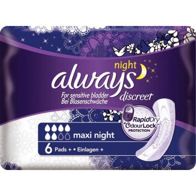 Always incontinence range Discreet pads maxi night 6 pack