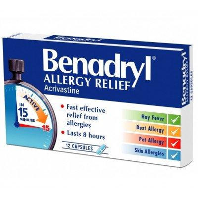 Benadryl capsules allergy relief 8mg 12 pack