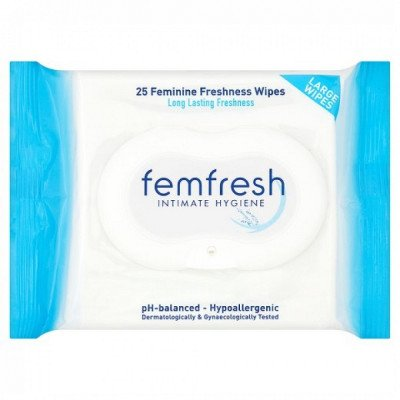 Femfresh body fresheners range wipes 25 pack