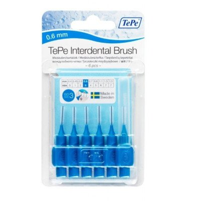 Tepe interdental brushes blue 0.6mm 6 pack