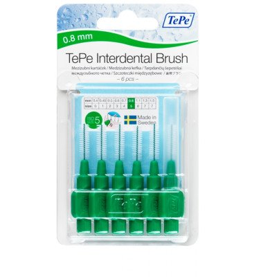 Tepe interdental brushes green 0.8mm 6 pack