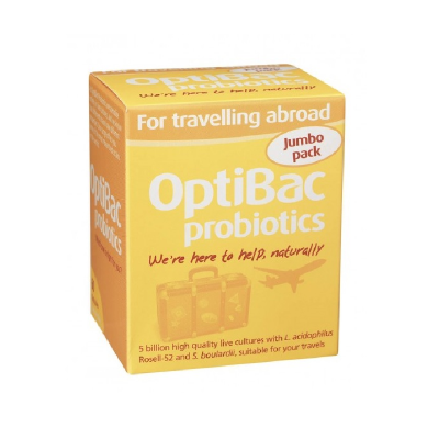 Optibac probiotic food supplements for travelling abroad 60 pack