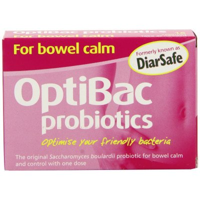 Optibac probiotic food supplements S. Boulardii (bowel calm) Capsules 16 pack